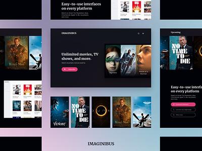 Imaginibus. Streaming Service | Landing page watch play movies streaming cinema landing page website web minimal design interface ux ui