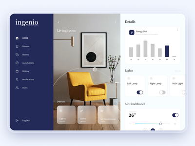 Ingenio. Smart Home | Dashboard clean dashboard stat energy lights house smart house smart home smarthome app website web minimal design interface ux ui