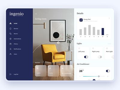 Ingenio. Smart Home | Dashboard clean dashboard stat energy lights house smart house smart home smarthome app website web minimal design interface ux ui