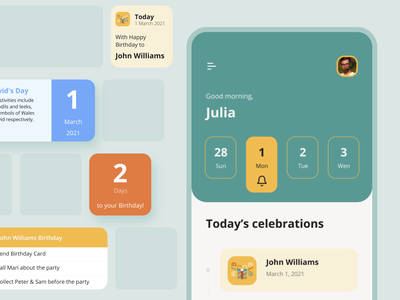 Celebramos App | Apple Widgets schedule event birthday ios widgets widget apple widgets ios widgets reminder days celebrate app web minimal design interface ux ui