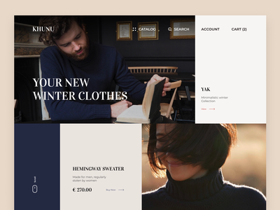 Khunu. Wool Clothes   Landing page clothing shopping collection winter yak wool knitting clothing brand clothes landing page website web minimal design interface ux ui