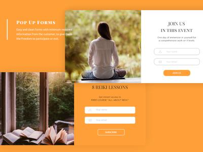 Popup Forms - TheSilkRoad orange design ux ui landing page yoga reiki subscription subscription forms forms pop up