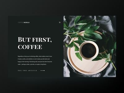 But first, coffee | Blog page interaction design simple card ux daily article concept coffee blog ui
