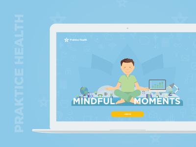 Promotional Website for Practice Health wellness corporation landing page praktice health challenge meditation yoga web ux ui illustration design