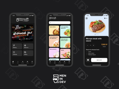 Application for ordering food delivery from a restaurant