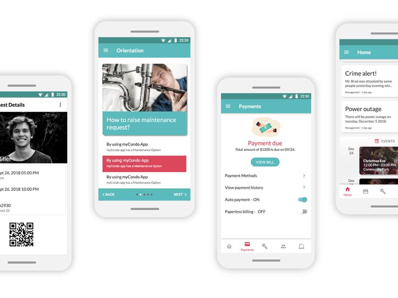 MiCasa - An app for tenants screen design material design app ux