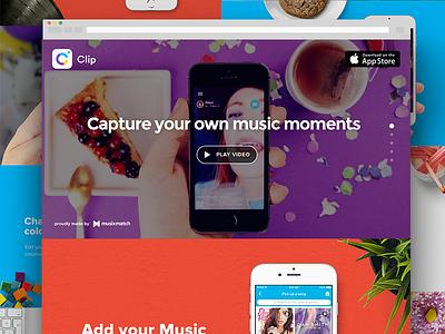 Clip landing page wbdesign ios mobileapp app video music selfie colors