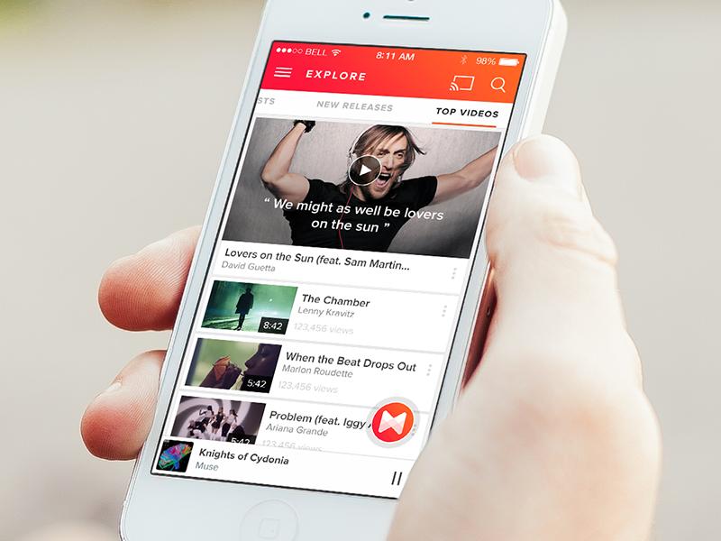 Musixmatch Prototype iphone app music lyrics video floating material player sound