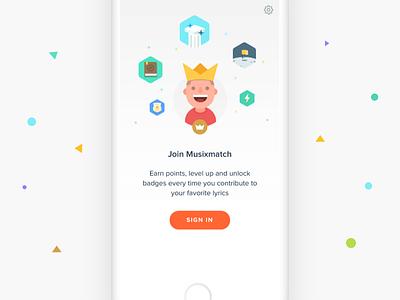 Join Musixmatch  iphone ios badge illustration king profile signin login