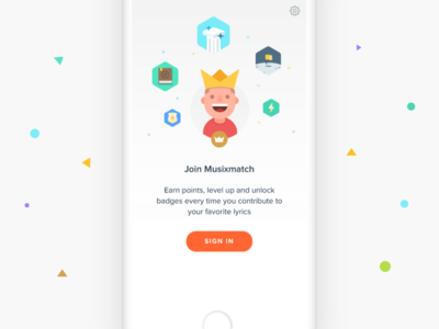 Join Musixmatch  iphone ios badge illustration king profile signin login