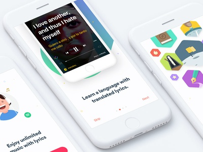 Onboarding lyrics illustration ui ios onboarding