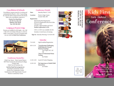 2015 Kids First Conference Brochure - First Spread brochure design layout design clean simple design non-profit