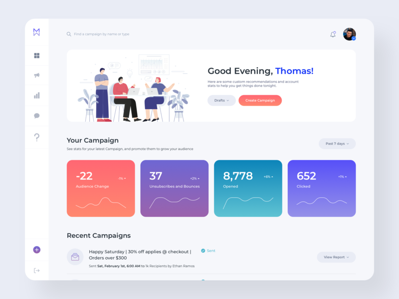 Dashboard Design with Gradients and Graphics campaigns dashboard app designer branding inspiration website ux ui design dashboard template dashboard ui vectors graphics dashboard design dashboard