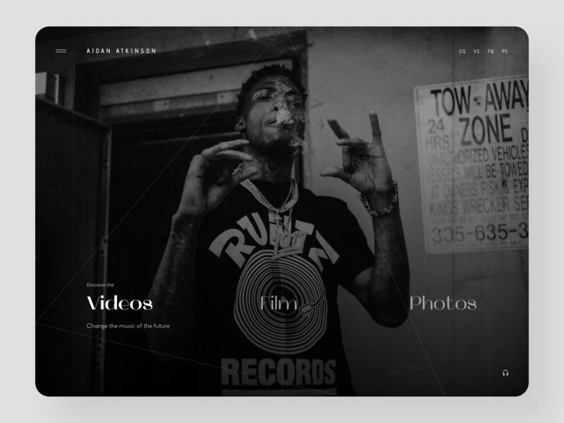 Music Rapper Website Design webdesign branding inspiration ux ui music player hip hop rap music ui design web design photos videos design website music rapper