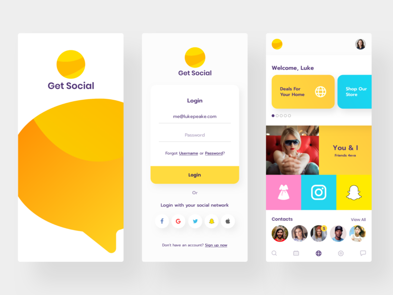 Get Social App Mobile Designs mobile ui design mobile app design friends social app social media digital design mobile design mobile ui kit mobile apps responsive mobile concepts mobile ux mobile app ui mobile ui app ui android app ios app app app designs mobile app