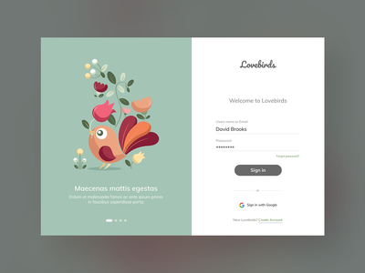 Lovebirds Website Login Design branding flat clean inspirational fullwidth inspiration ux ui design sign up form sign in page login design login page login form sign in website login