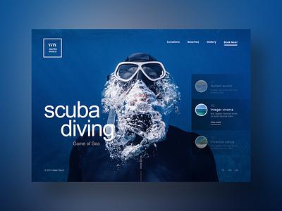 Scuba Diving Website Design typography webdesign designer responsive illustration branding gradient blue inspiration ux ui design website swimming ocean sea diving scuba diving scuba diver