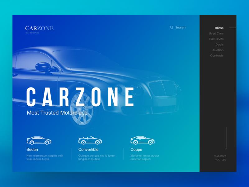 Carzone Website Design animation logo illustration webdesign inspiration branding car booking black blue gradient responsive cars for sale car sale vehicles ux ui design website car