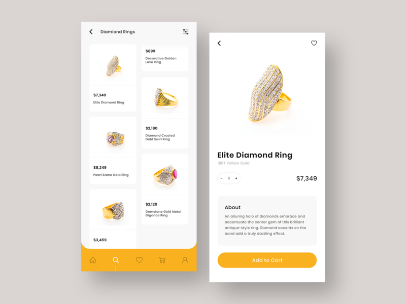Luxury Jewelry Ecommerce App Designs ecommerce shopping inspiration app flat clean branding ux design ui app designer white ux design ui design mobile app design fashion elite luxury app design