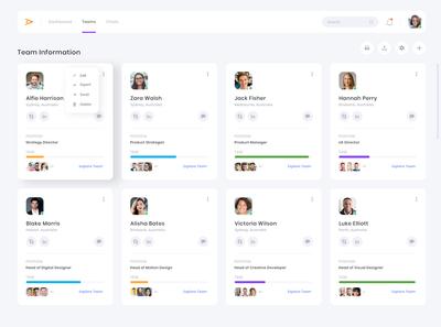 Team Management CRM Dashboard Design