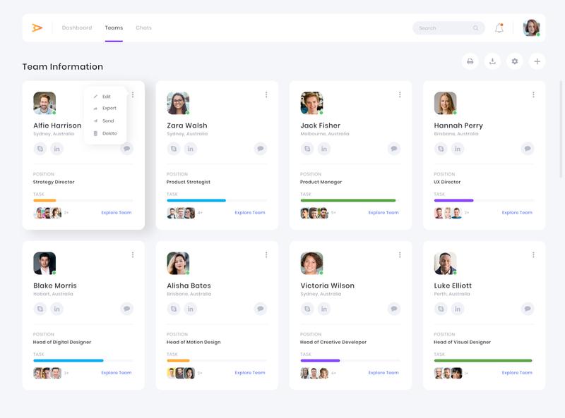 Team Management CRM Dashboard Design dashboard design dashboard ui crm tasks profiles product design functional vector web design flat clean inspiration website software design teams dashboard