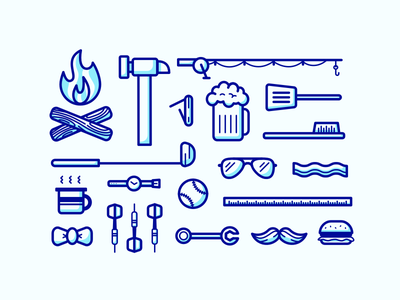 Father's Day Icons darts bowtie coffee mug watch sunglasses bacon grill beer knife fishing pole hammer campfire
