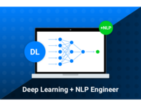 Deep Learning Engineer + NLP expert job position graphic