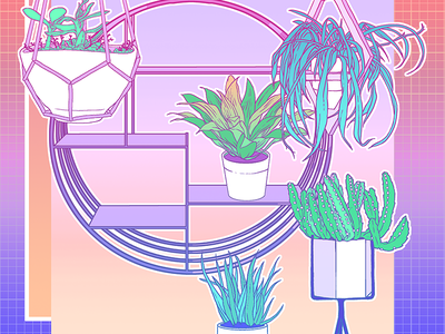 Plants pots pot plants colour digital grid gradient vaporwave plants