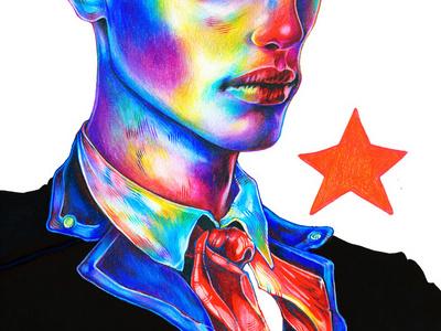 Ruslan portrait art illustration colour pencil coloured drawing ruslan