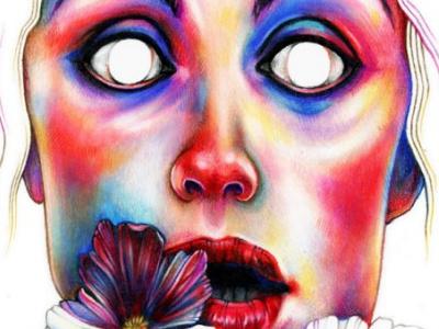 Nothing illustration art colour flower face pencil coloured drawing portrait
