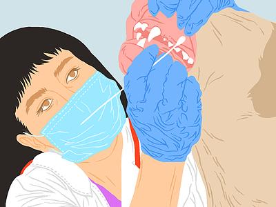 Dentist teeth doctor digital drawing illustration dentist dog