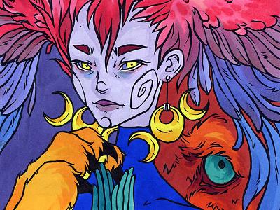 Calcemin colour markers moon lion alien art portrait illustration drawing
