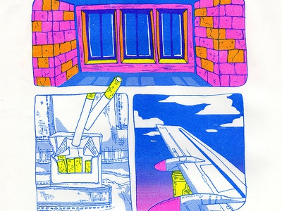 Packet of cigarettes plane colour window risograph riso printmaking printmedia print cigarettes of packet