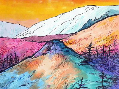 Landscape trees forest landscape mountains colour illustration drawing