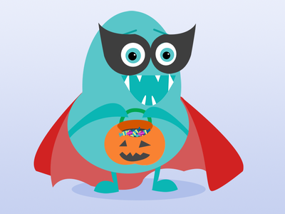 Monster Mash Halloween mask super-hero costume trick-or-treat illustration mash blue teal monster halloween