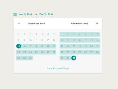Calendar - Custom Range bench datepicker calendar