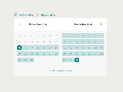 Calendar - Custom Range bench datepicker calendar