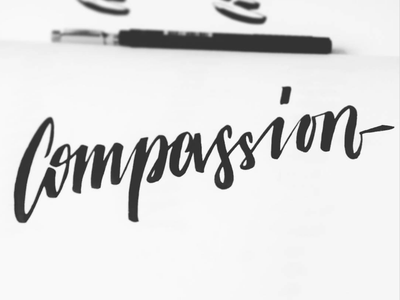 Compassion brushscript calligraphy typography handlettering lettering