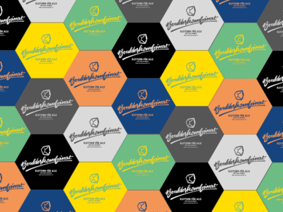 Boulderkombinat Hexagons lettering color ci logo