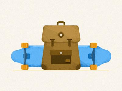 Skateboard illustration icon ui skateboard skate picture mobile knapsack interface illustration icon design