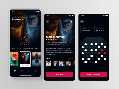 ABCinema, Cinema Ticket Booking Mobile App UI 🎞 movie ui user interface mobile ui booking ticket cinema