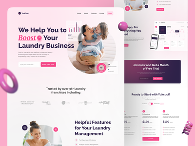 YukCuci Landing Page footer app overview feature hero section product saas service laundry web design landing page concept user experience design user experience ux design ux user interface design user interface ui design ui app