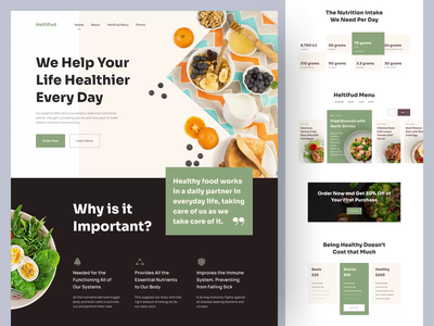 HeltiFud, a Healthy Food Program Landing Page (Animated) 🥗 eat healthy body health body advice program diet diet program nutrition salad food healthy food landing page ux design user experience design user experience ux ui design user interface design user interface ui