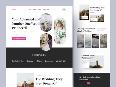 Dreams, Wedding Planner and Organizer Landing Page 💐 (animated) wedding event event engagement wedding organizer wedding planner wedding webpage website web design landing page user experience ux user interface ui