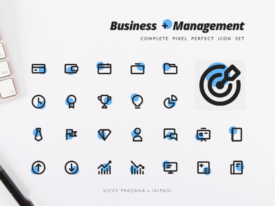 Business and Management - Complete Pixel Perfect Icon Set pixel perfect line style challenge management business icon set icons