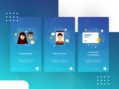 Online Learning App Onboarding dailyui onboarding vector design illustration concept ui android user interface app