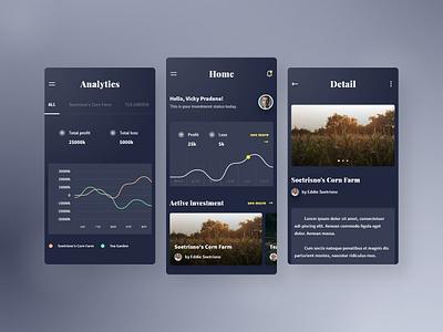 Investment Mobile App UI dark app investment dark design concept ui user interface android app