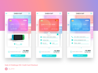 Credit Card Checkout #DailyUI002 creditcard checkout gradient sign-up dailyui