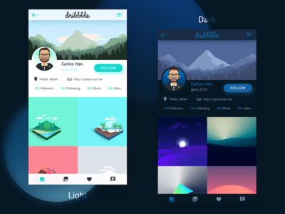 User Profile Concept theme app interface dark light user profile profile