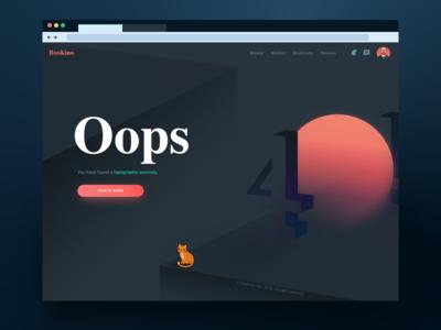 Bookino 404 Page interface illustration 404 webpage dailyui